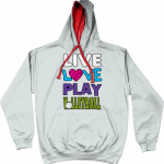 Heather Grey Fire Red - Live love play volleyball - AWDis Varsity Hoodie