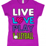 Antique Heliconia - Live love play volleyball - Gildan SoftStyle® Ladies Fitted Ringspun T-Shirt