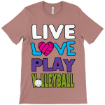 Heather mauve - Live love play volleyball - Canvas Unisex Sueded T-Shirt