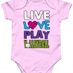 Pale pink - Live love play volleyball - Larkwood Essential Short Sleeve Baby Bodysuit