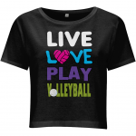 Black - Live love play volleyball - N28 Women's Cropped Jersey T-shirt