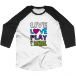 Live love play volleyball - Black and White - N22 Unisex Baseball T-shirt