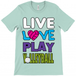 Heather mint - Live love play volleyball - Canvas Unisex Crew Neck T-Shirt