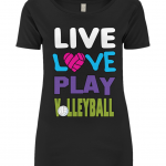 Black - Live love play volleyball - EP09 Women's Open Neck T-Shirt