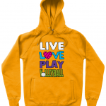 Gold - Live Love Play Volleyball #1 - N50P Unisex Pullover Hoodie with Side Pockets