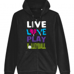 Black - Live Love Play Volleyball #1 - Connector Unisex Zoodie