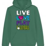 Varsity green - Live Love Play Volleyball #1 - Cruiser Unisex Hoodie