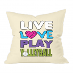 Natural Throw Cushion - Live love play volleyball