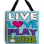 Atoll blue - Polyester tote bag -Live love play volleyball