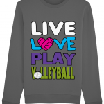 Anthracite - Live Love Play Volleyball #1 - Rise Unisex Sweatshirt