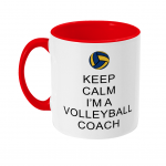 Red - Keep calm - volleyball coach 2 - two toned mug