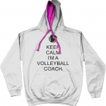Arctic White / Hot Pink - Keep Calm - Volleyball Coach #2 - AWDis Varsity Hoodie