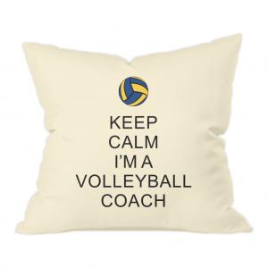 Keep Calm – Volleyball Coach #2 – Natural Throw Cushion