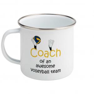 Volleyball coach – Awesome team #3 – Enamel Mug